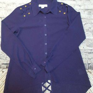 Purple Button Down Blouse Small NWT